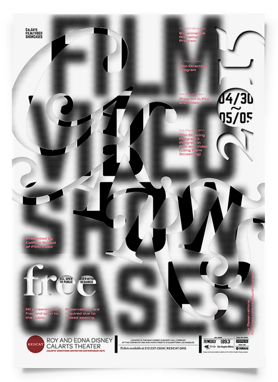 Jessica Lee REDCAT: CALARTS FILM VIDEO SHOWCASES [Poster, Typography]