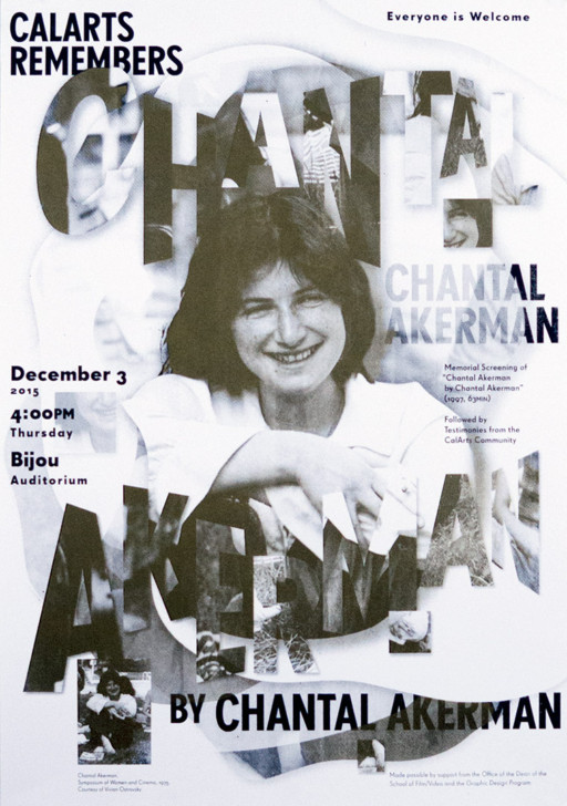 Jessica Lee CHANTAL AKERMAN [Poster, Typography, Screen Printing]