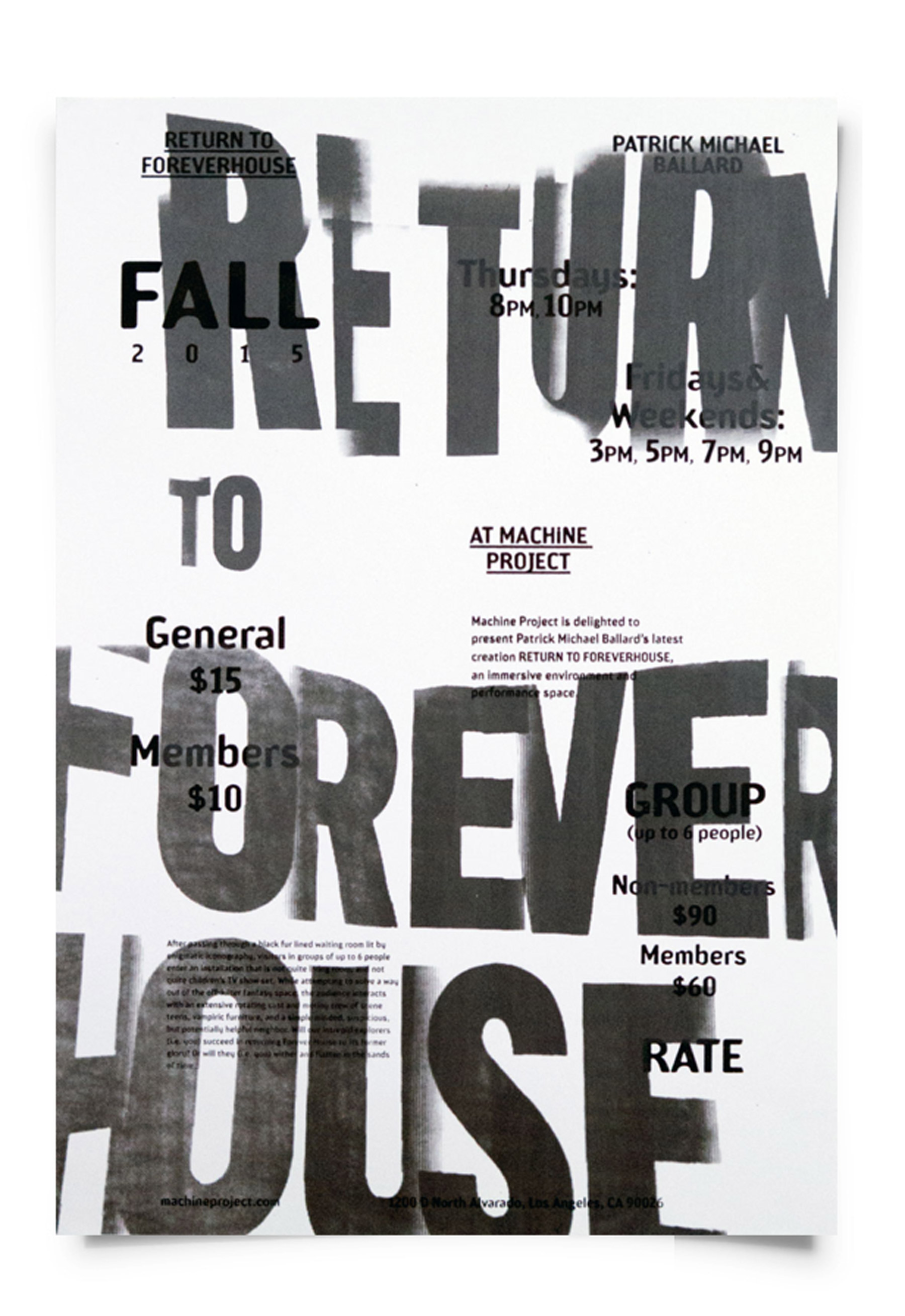 Jessica Lee RETURN TO FOREVERHOUSE [Poster, Typography]